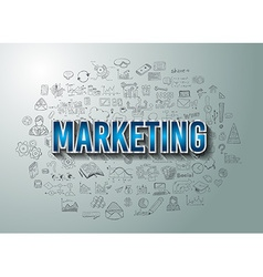 Marketing with Doodle design style vector image