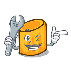 Mechanic rigatoni mascot cartoon style vector