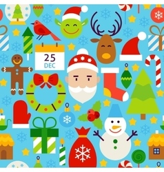 Merry Christmas Blue Tile Pattern vector image