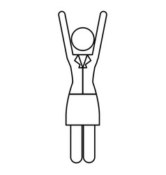 Monochrome contour pictogram of business woman in vector