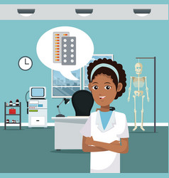 nurse at doctor office vector image