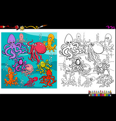 octopus animal characters coloring book vector image