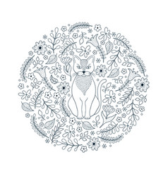 pattern with cat and flowers vector image