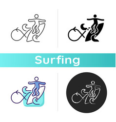 performing roundhouse cutback in surfing icon vector image