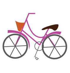 pink bicycle with basket print on white background vector image