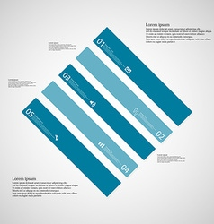Rhombus template consists of five blue parts on vector
