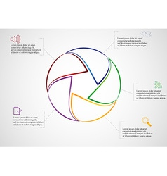 Rounded infographic consists of five parts on vector