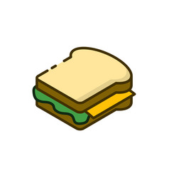 sandwich outline icon on white vector image