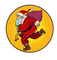 Santa claus is running new year and christmas vector