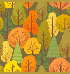 seamless autumn forest trees pattern colorful vector image
