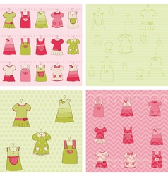 seamless background collection - baby girl dress vector image