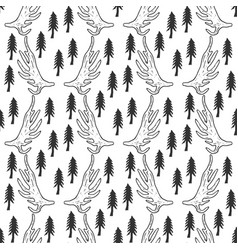 seamless pattern with pine trees and horns in vector image