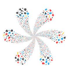 Secrecy symbols rotation flower cluster vector