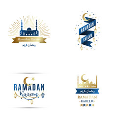 set emblems for islamic holy holiday ramadan vector image