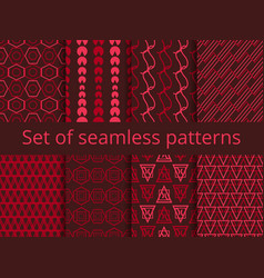 set of seamless patterns with geometric shapes vector image