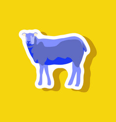 Sheep paper sticker on stylish background vector