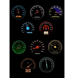 Sppeedometers and speed dials vector image
