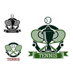 Tennis tournament emblems with crossed rackets vector image