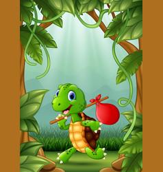 The little turtle are run in the jungle vector