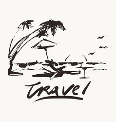 travel vacation beach sea palm sketch vector image