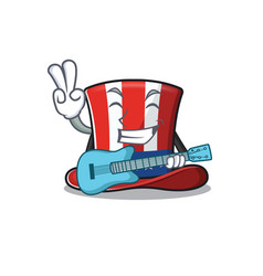 Uncle sam hat in holding with guitar cartoon vector