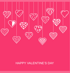 valentines day card with hanging decorative hearts vector image