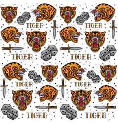 vintage tiger tattoo pattern vector image