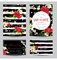 wedding invitation card with lily and roses vector image