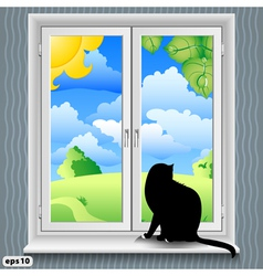 windowsill summer vector image