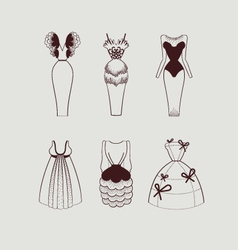 Woman knee length dresses vector
