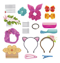womens hair clips and elastic bands vector image