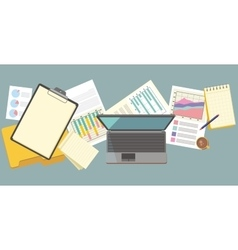 Work Table Document and Laptop Design Flat vector