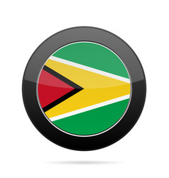 Flag of guyana shiny black round button vector