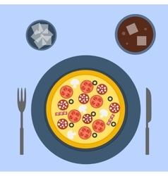 Italian pizza in flat style vector image