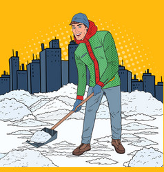 Pop art man clearing snow with shovel winter vector