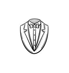 Smoking suit hand drawn sketch icon vector