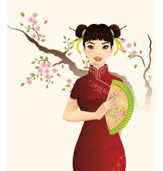 Beautiful Chinese Girl vector image