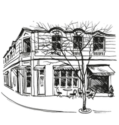 Cafe drawing vector image vector image