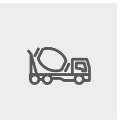 Concrete mixer truck thin line icon vector image