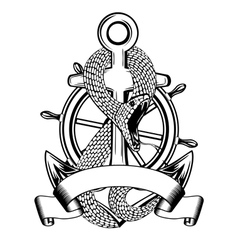 snake anchor and steering wheel vector image vector image