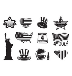 us independence day monochrome icon set vector image vector image