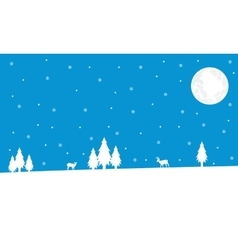 Winter deer and spruce Christmas landscape vector image vector image
