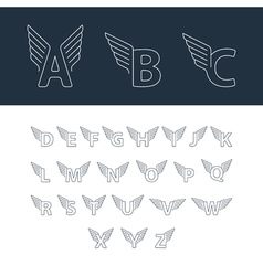 Alphabet letters with wings vector image vector image