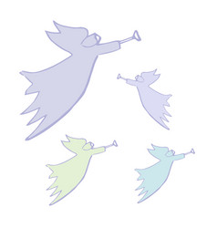 Angel silhouettes with simple wings on a white vector