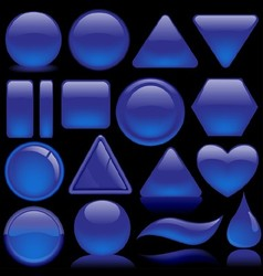 Blue Glass Button Collection vector image vector image