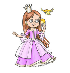 cute princess with long hair holds on finger vector image vector image