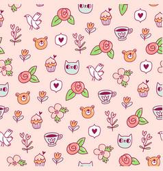 doodle bear cat and a bird pattern vector image