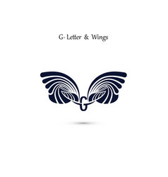 G letter sign and angel wings monogram wing logo vector