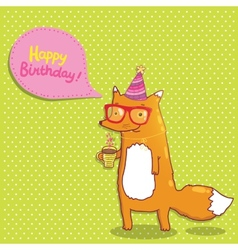 Happy Birthday card with hipster fox vector image