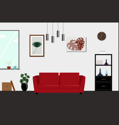 living room interior design with furniture flat vector image